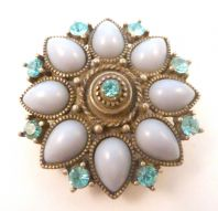 Vintage Blue Floral Design Rhinestone Set Brooch.